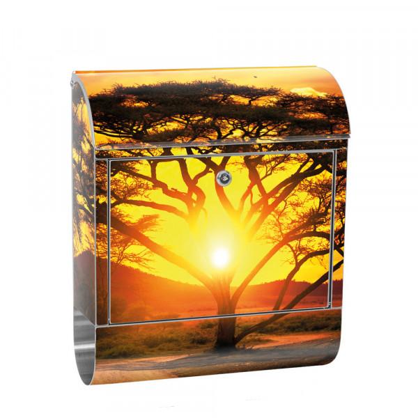 Edelstahlbriefkasten mit Zeitungsrolle & Motiv Baum Wald Pflanze | no. 0999