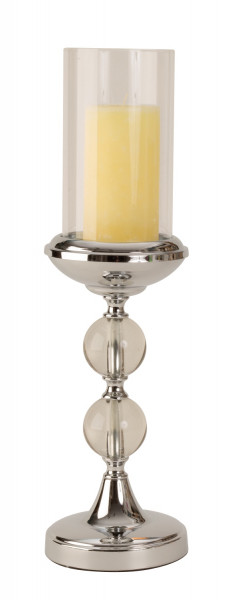 Modern windlight Candle holder made of metal and glass in silver Height 46 cm Diameter 13 cm