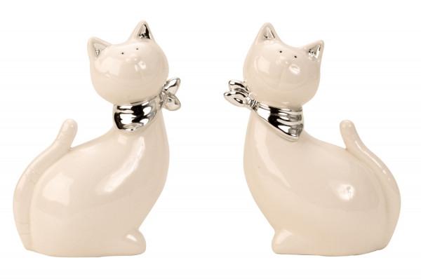 Moderne Katzen Skulptur Dekofigur mit silbernem Halstuch aus Keramik weiß/silber Höhe 13 cm Breite 9