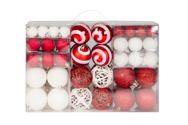 100 Christmas balls 2 colored white and red matching with hook shiny glittering to Ø 6 cm