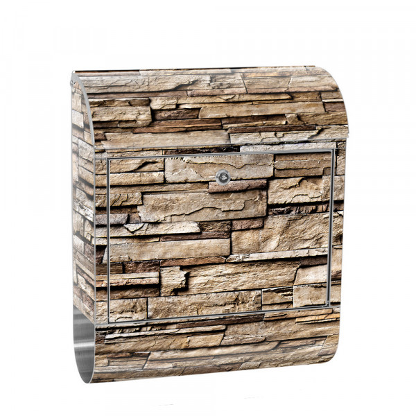Stainless Steel Letterbox with Newspaper roll & Motif stone wall Stone Optics | No. 0133