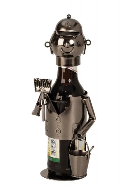Moderner Bier Flaschenhalter Flaschenständer Maler aus Metall in silber Höhe 23 cm