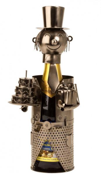 Moderner Flaschenhalter Weinflaschenständer Geburtstag aus Metall silber Höhe 36 cm