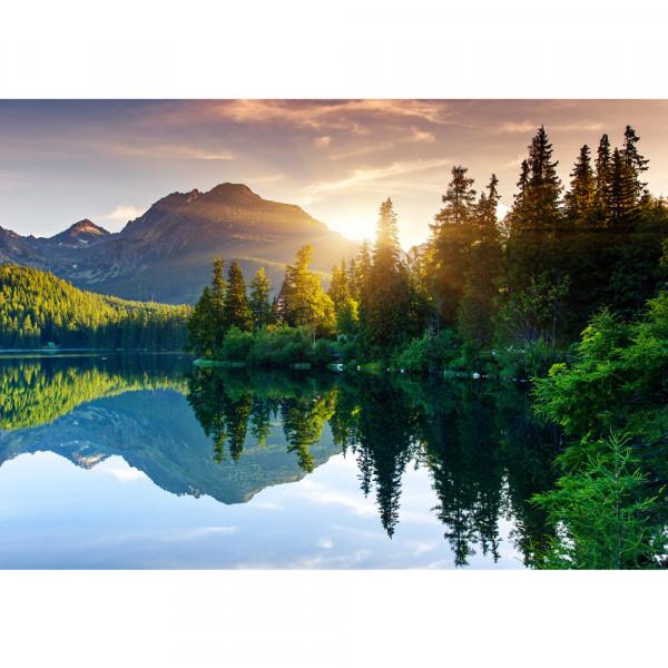 Vlies Fototapete Mountain Lake View Landschaft Tapete Berge See Sonnenuntergang Romantisch Bäume