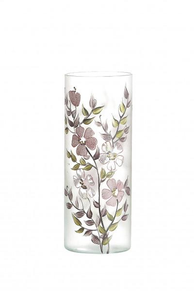 Moderne Dekovase Blumenvase Tischvase Vase aus Glas mit Blumendekor Höhe 30 cm