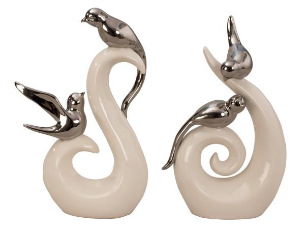 Moderne Skulptur eines Vogelpaares weiß/silber aus Keramik Höhe 25 cm