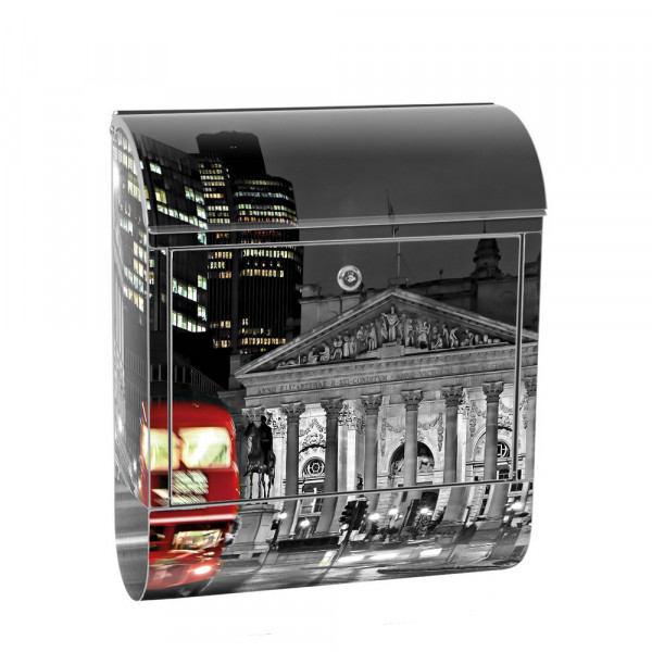 Stainless Steel Letterbox with Newspaper roll & Motif London Night Skyline | No. 0538