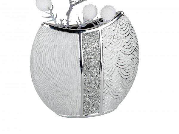 Moderne Dekovase Blumenvase Tischvase Vase aus Keramik Silber glänzend und matt 29x27 cm