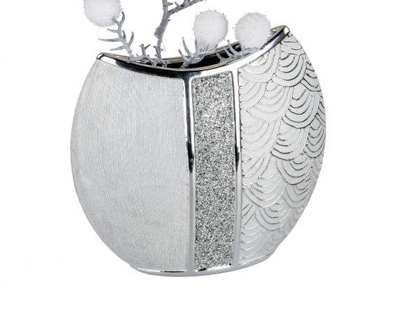 Modern deco vase flower vase Table vase ceramic vase silver glossy and matte 29x27 cm