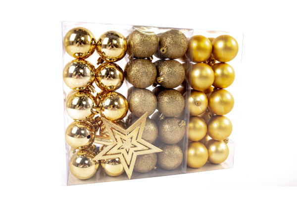 Large Christmas Baubles Set 61 pieces Ø 6 cm Gold including star lace Christmas tree decorations