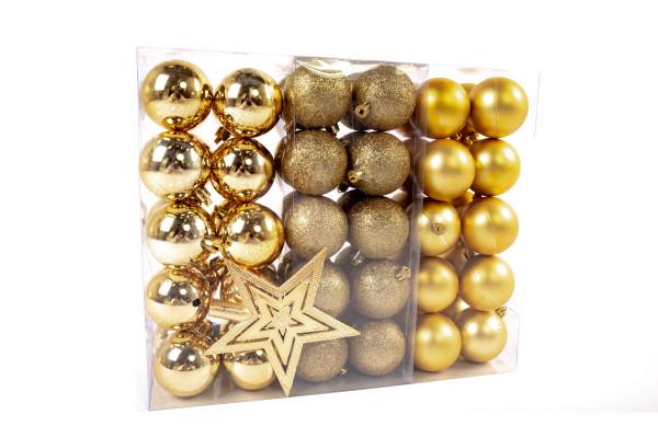 Große Weihnachtskugeln Set 61 teilig Ø 6 cm Gold inklusive Sternspitze Weihnachtsbaumschmuck