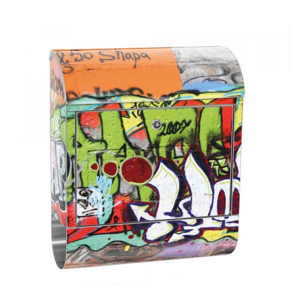 Edelstahlbriefkasten mit Zeitungsrolle & Motiv Kinder Graffiti bunt | no. 0032
