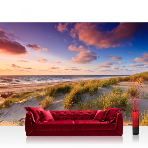 Vlies Fototapete Strand Tapete Strand Düne Sonnenuntergang Beach Sand bunt