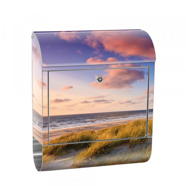 Stainless Steel Letterbox with Newspaper roll & Motif Beach Sunset | No. 0245