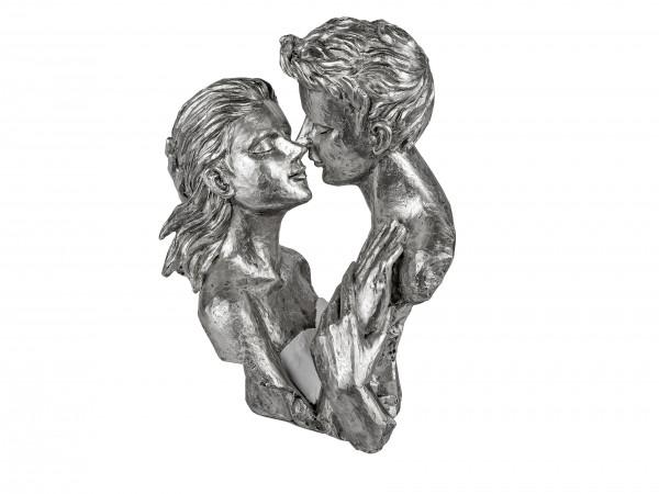 Modern sculpture deco figure bust lovers on pedestal white / silver height 29 cm