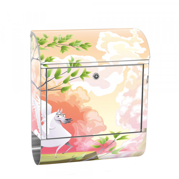 Stainless Steel Letterbox with Newspaper roll & Motif unicorn Unicorn | No. 0086