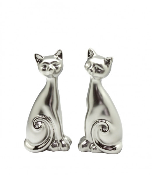 Modern sculpture deco figure cat in a set of 2 ceramic silver matt height 20 cm