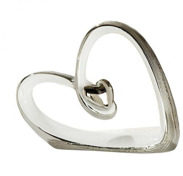 Wunderschöne Skulptur Dekofigur Herz aus Keramik weiß/silber mit Struktur Höhe 16 cm Breite 20,5 cm