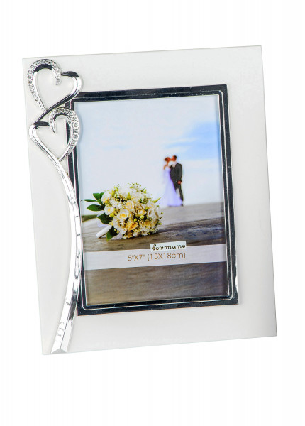 Beautiful picture frame photo frame wedding marriage engagement white with silver hearts 13x18 cm