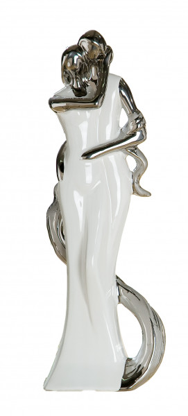 Moderne Skulptur Dekofigur Bezaubernde Halina aus Keramik weiß/silber glasiert Höhe 34 cm 1 Stück
