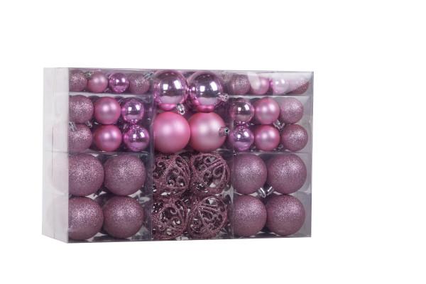 100 pieces Christmas balls pink Christmas tree decorations Christmas tree balls 100 metal hooks Pendants Shatterproof