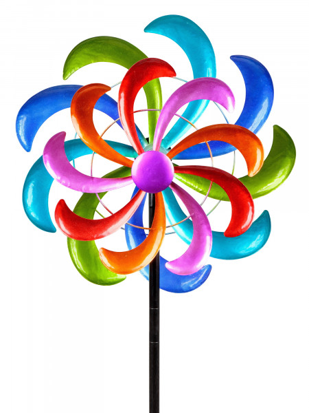 Windrad Windspiel Blume als Gartenstecker aus Metall blau, grün, lila und rot mit einer Länge von 16