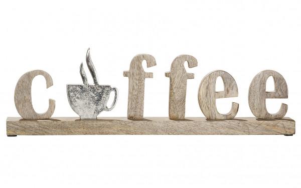 Moderner Schriftzug Aufsteller COFFEE silber auf Mangoholz 46x5x14 cm