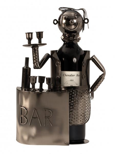 Moderner Wein Flaschenhalter Flaschenständer Barkeeper aus Metall in silber Höhe 32,5 cm Breite 20 c