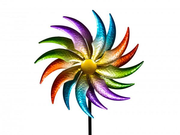 Windrad Windspiel Blume als Gartenstecker aus Metall blau, grün, lila und rot mit einer Länge von 12