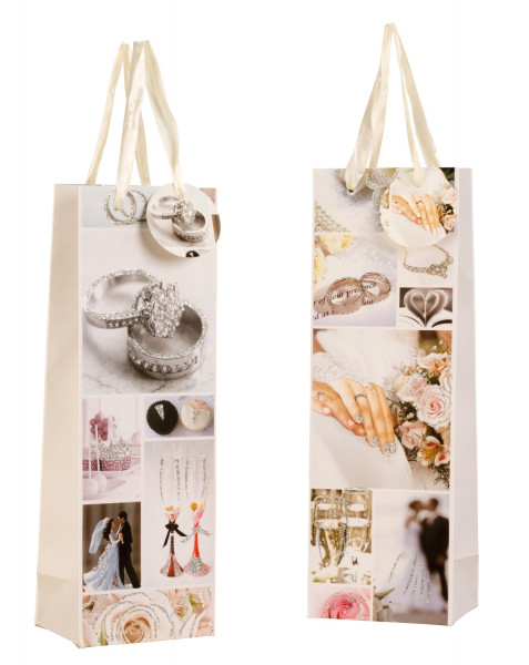Beautiful wedding gift bags bottle bag with glitter in the set of 12x36x9cm