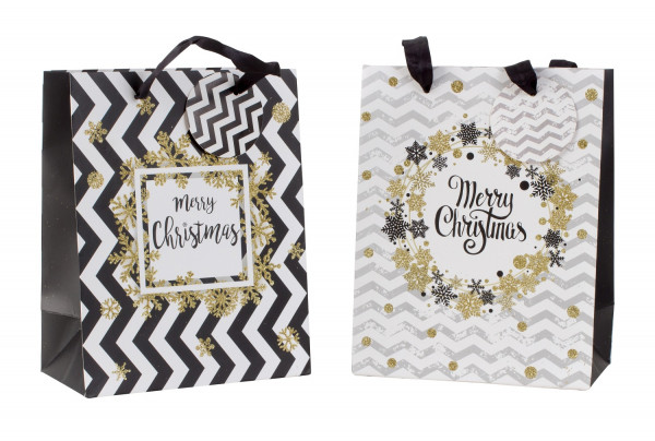 Gift bag Christmas black and white / gold with glitter in a set of 4 Dimensions 18x23x10cm