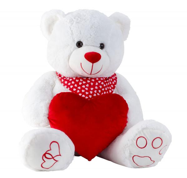 Riesen Teddybär Kuschelbär XXL 100 cm groß weiß mit Herz Plüschbär Kuscheltier samtig weich - zum li