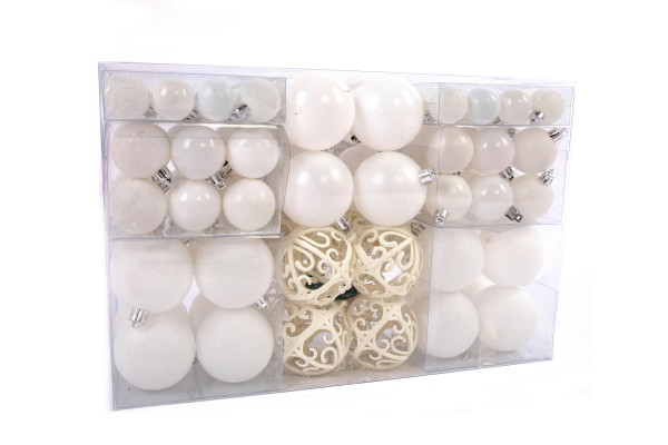 Exclusive Christmas Balls Baubles SET with 100 pieces Color White * TOP *