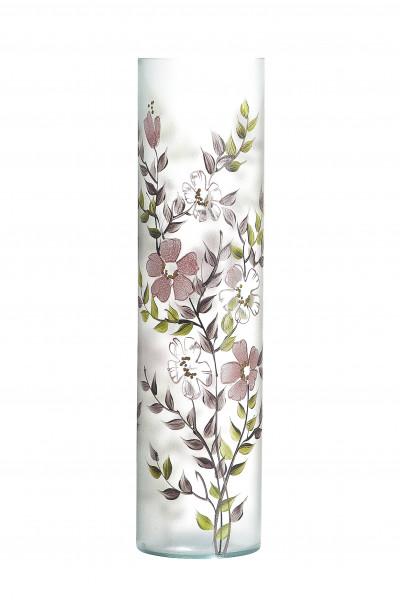 Moderne Dekovase Blumenvase Bodenvase Vase aus Glas mit Blumendekor Höhe 50 cm