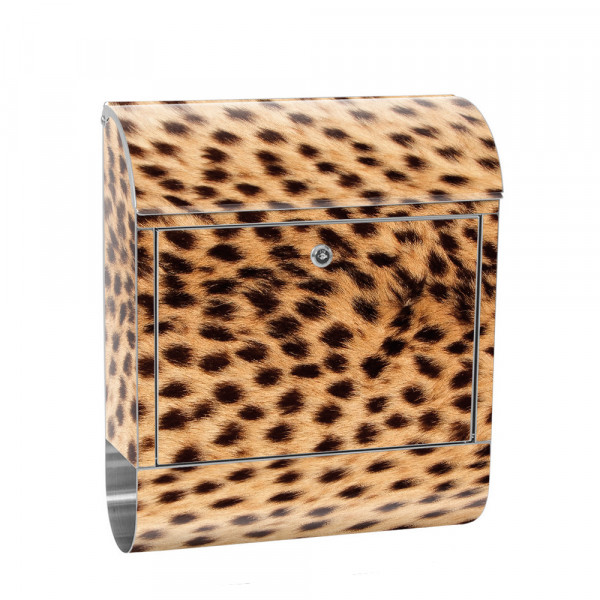 Stainless Steel Letterbox with Newspaper roll & Motif Leopard Animal Nature | No. 0181