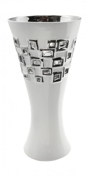 Moderne Deko Vase Blumenvase Tischvase 'Torino' aus Keramik weiß/silber Höhe 33 cm