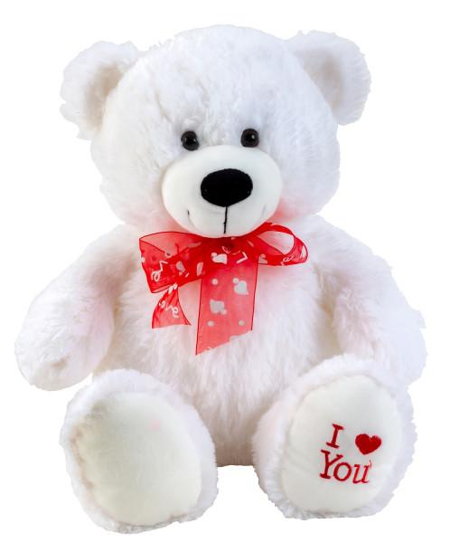 """Teddybär Kuschelbär weiß mit Schleife und Aufschrift """"I Love You"""" 50 cm groß Plüschbär Kuscheltier s"""
