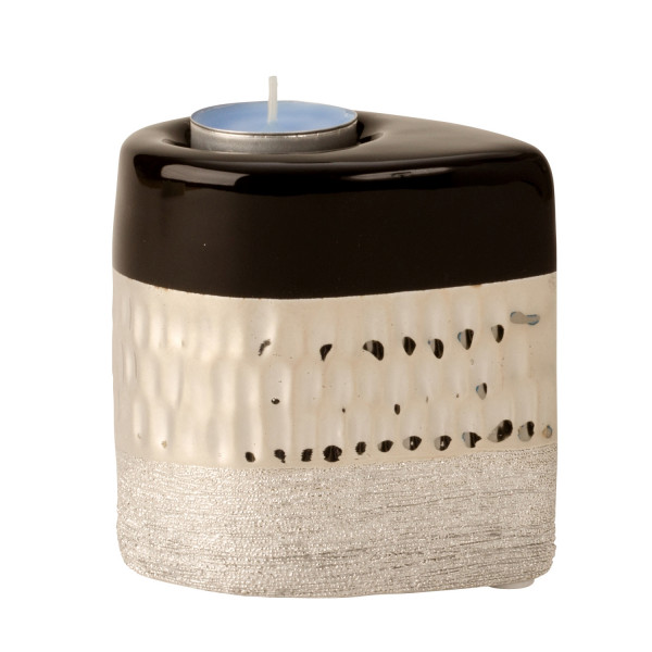 Modern tealight holder Tealight lamp Lantern in the set of 2 ceramic anthracite / silver 10x7 cm