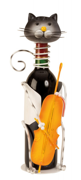 Modern wine bottle holder cat colored with contrabass height 36,5cm