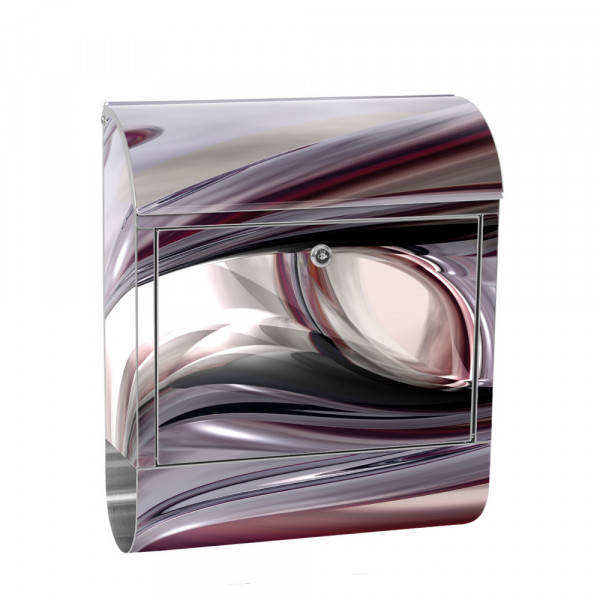 Stainless Steel Letterbox with Newspaper roll & Motif Digital Art Abstract | No. 0010