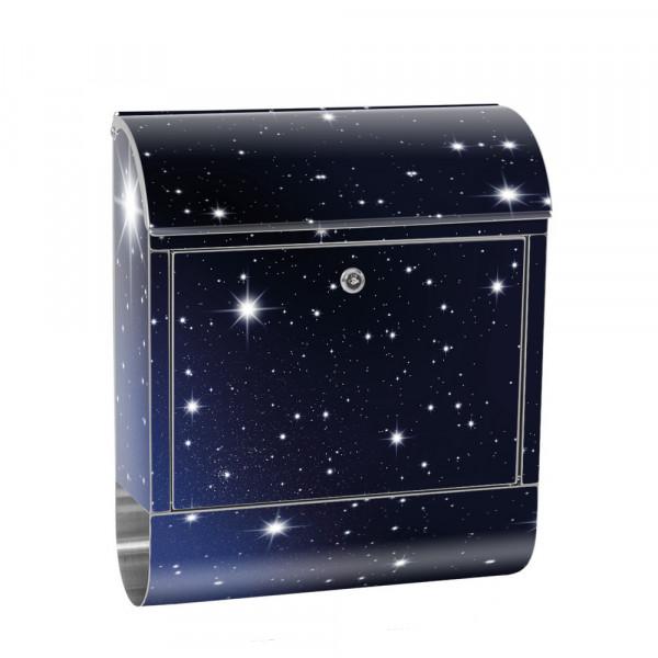 Edelstahlbriefkasten mit Zeitungsrolle & Motiv Sterne Nachthimmel | no. 0028