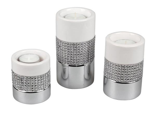 Moderner Teelichthalter Teelichtleuchte Windlicht im 3er Set aus Porzellan weiß/silber Höhe 8-11-14
