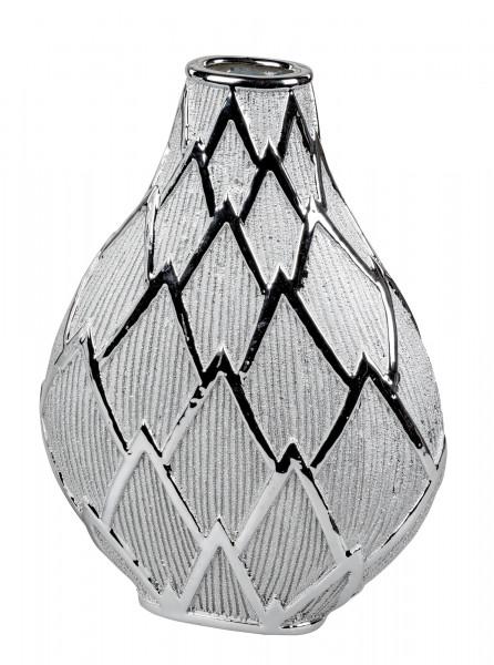 Moderne Dekovase Blumenvase Tischvase Vase aus Keramik Silber glänzend und matt Höhe 31 cm