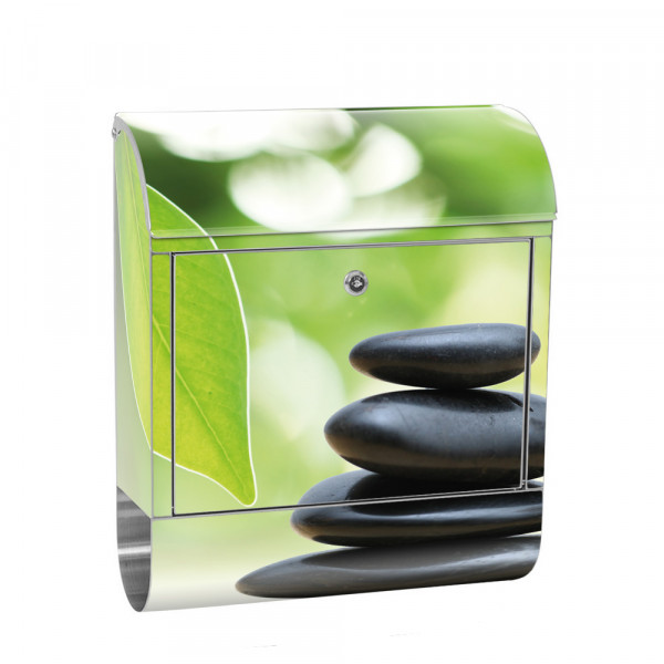 Stainless Steel Letterbox with Newspaper roll & Motif stones Water Leaves | No. 0468