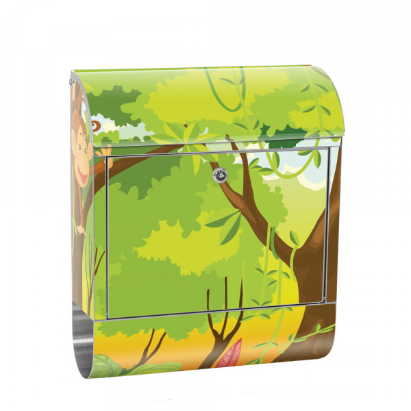 Stainless Steel Letterbox with Newspaper roll & Motif Children's Comic Jungle | No. 0094