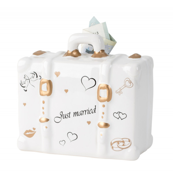 Modern moneybox piggy bank Just married for wedding ceramic white 15x11 cm