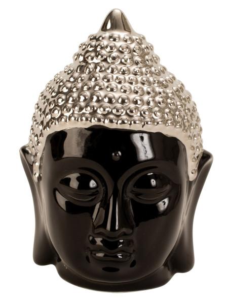 Moderne Skulptur Buddha Kopf aus Porzellan in schwarz/silber Höhe 13,5 cm