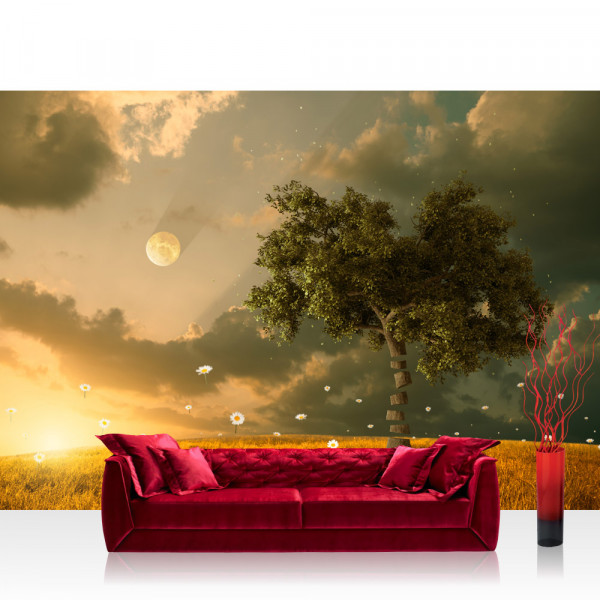 Vlies Fototapete Natur Tapete Natur Feld Sonne Mond Baum braun