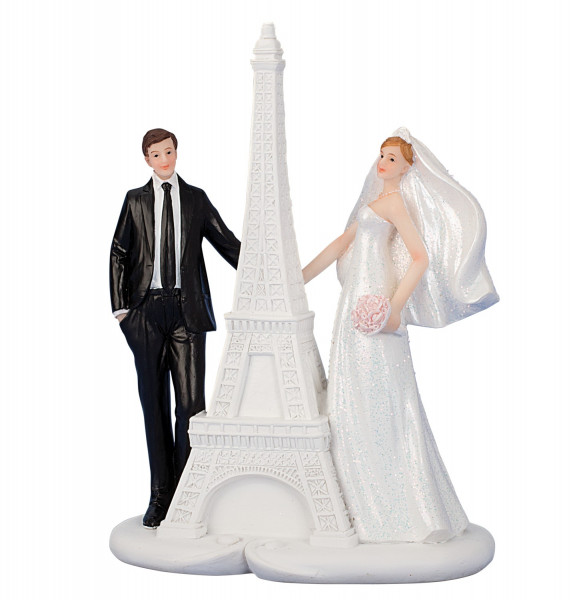 Contemporary sculpture of a married couple on Eiffel tower ceramic white / black Height 17.5 cm