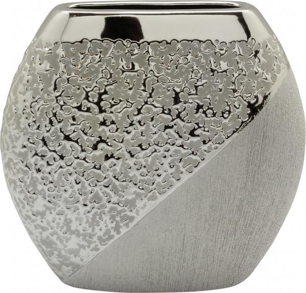 Modern deco vase flower vase Table vase ceramic champagne silver 27x25 cm
